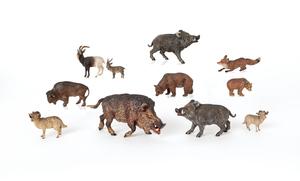 Three Austrian cold painted bronze wild boar figur