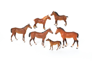 Six Austrian cold painted bronze horse figures, mi