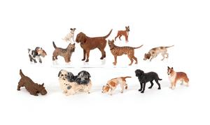 Twelve Austrian cold painted bronze dogs, 20th c.,
