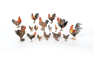 Sixteen Austrian cold painted bronze roosters andh