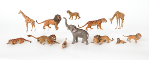 Twelve Austrian cold painted bronze African animal