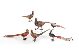 Six Austrian cold painted bronze pheasants, mid 20