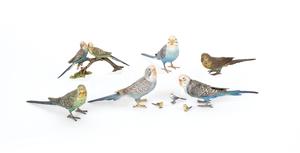 Nine Austrian cold painted bronze parakeets, mid 2