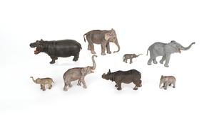 Six Austrian cold painted bronze elephant figuresi