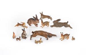 Twelve Austrian cold painted bronze hares, mid 20t