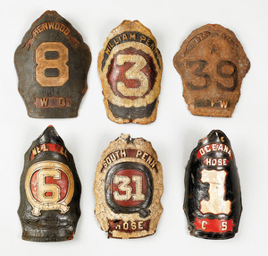 Six American painted leather fire shields, 19th c.