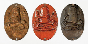 Three Fire Association cast iron fire marks, issue