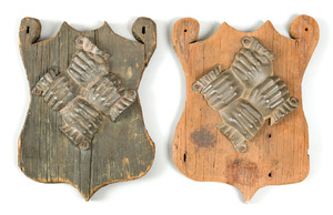 Two cast lead fire marks, probably early 20th c. r