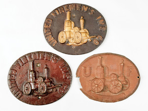 Three cast iron fire marks for United Firemen's St