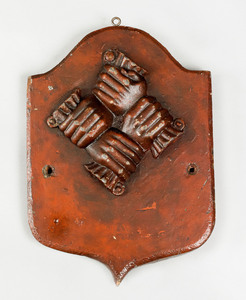 Lead clasped hands fire mark, ca. 1774 for the Phi