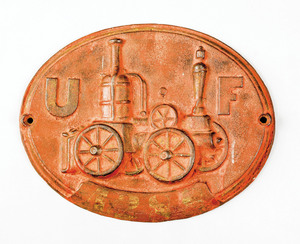 Cast iron steamer fire mark for the United Fireman