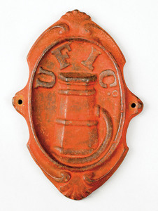 Cast iron hydrant fire mark, ca. 1870, for the Uni
