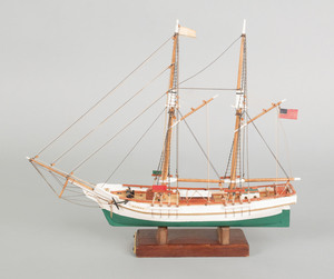 American carved and rigged ship model of the schoo