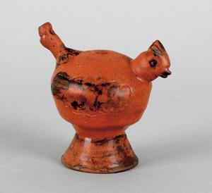 Pennsylvania redware bird whistle, mid 19th c., wi