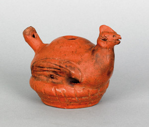 Pennsylvania redware bird whistle, early/mid 19th.