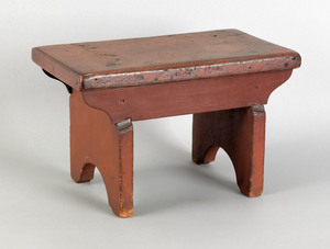Pennsylvania painted footstool, 19th c., with boot
