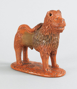 Pennsylvania redware figure of a lion, 19th c., wi