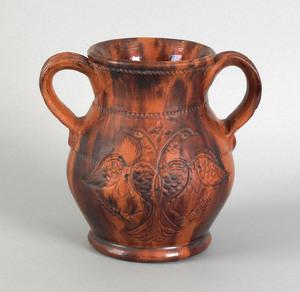 Pennsylvania redware two handled vase, attributedo