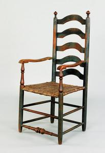 Delaware Valley five slat ladderback armchair, lat