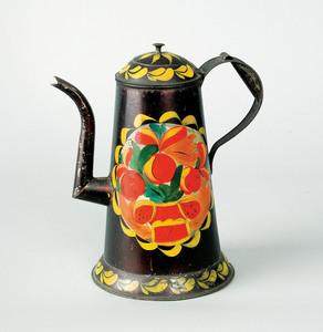 Pennsylvania toleware coffee pot, 19th c., retaini