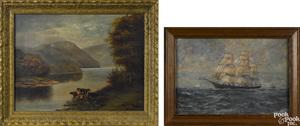 Oil on board ship portrait