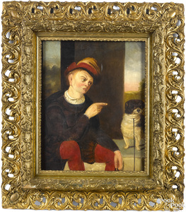 Oil on canvas of a man scolding a dog