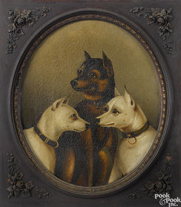 Oil on canvas of three dogs