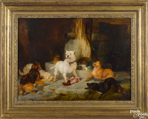 Oil on panel of dogs fighting over a bone
