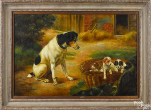 Contemporary oil on canvas of dogs and puppies