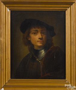 Oil on canvas portrait, after Rembrandt