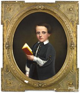 American oil on canvas portrait of boy