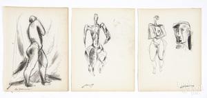 After de Kooning, three sketches of human figures
