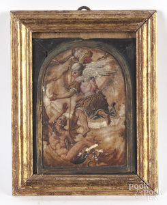 Italian oil on alabaster arched panel, 18th c.