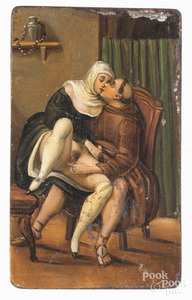 Tin pornographic painting of a friar and a maiden