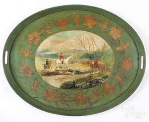 Oval tole tray with foxhunting scene