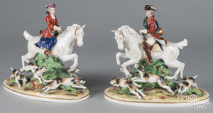 Dresden porcelain pair of foxhunting figures