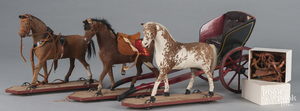 Three German calfskin horse pull toys, late 19th c