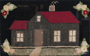 Hooked rug of a house, early 20th c.