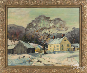 Oil on canvas winter landscape, mid 20th c.