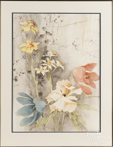 Watercolor of flowers, signed {Werkhoven}