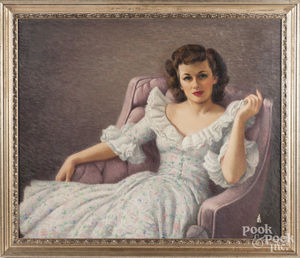 Oil on canvas portrait of a young woman