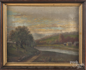 Oil on canvas landscape with apple pickers