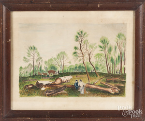 Primitive mixed media landscape with loggers