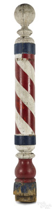 Large turned and painted barber pole, late 19th c