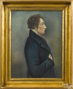 Pastel profile portrait of a gentleman