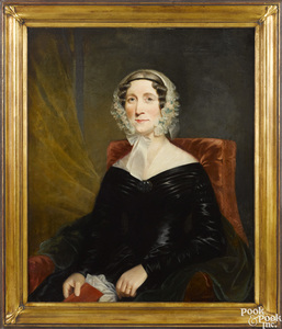 American oil on canvas portrait of a woman