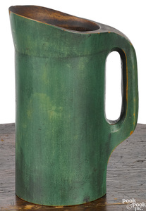 Carved maple treenware pitcher, 19th c.