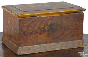 Painted pine box, 19th c.