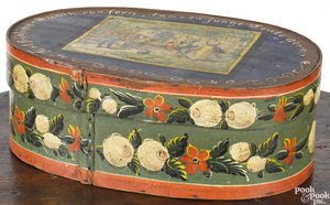 Painted bentwood brides box, 19th c.
