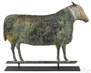 Swell bodied copper lamb weathervane, 19th c.